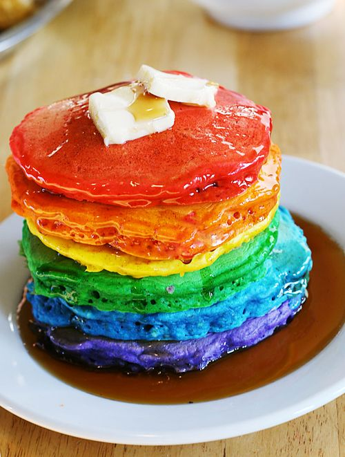Should Rainbow pancakes be eaten before gay pride parades? Yummy