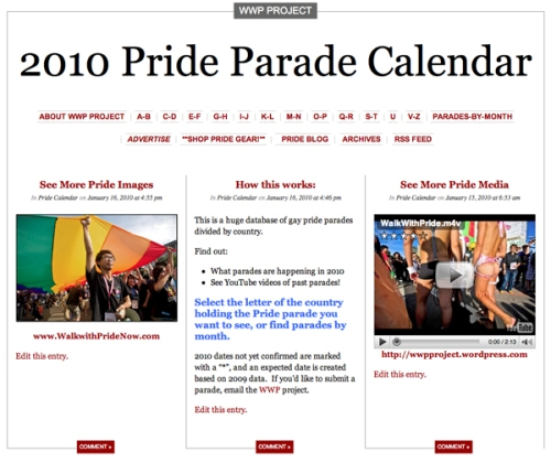 2010 Pride Parade Calendar of LGBT Gay March Events around the Globe