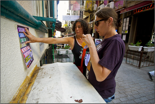 Hanging leaflets to promote Trans Pride in Turkey